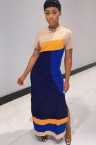 Constrast Color Patch Color Side Split Long Dress LYY9234