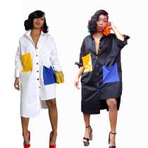 Hot Sale Irregular Color Block Loose Shirt Dress BN9135