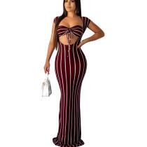 Wine Red Sexy Elegant Striped Long Dress GL6177