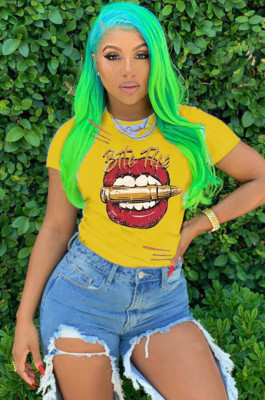 Yellow Casual Polyester Mouth Graphic Short Sleeve Round Neck Tee Top AMM8237