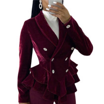 Fashion Ruffled Long Sleeves Buttons Velvet Casual Outerwear SN3730
