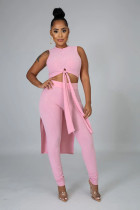 Pink Rib-knit Front Knotted Crop Tank Top & High Waist Skinny Pants Sets FH083