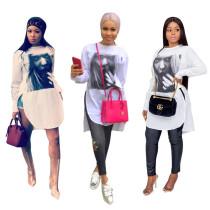 Fashion Print Long T Shirts Street Wear BLX5216