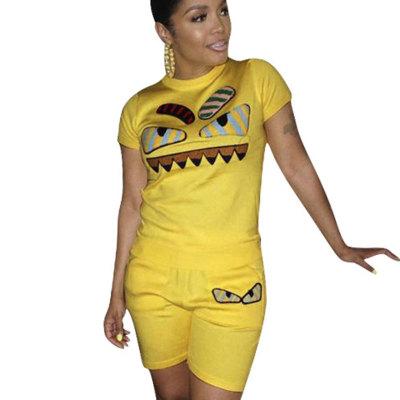 Dark Yellow Casual Fashion Cartoon Print Plus Size 3XL Sports Outfits H1139
