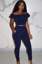 Navy Blue Front Lace Shirred Details Crop Top Mid Riss Pants Set KA7085