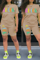 Apricot Casual Polyester Letter Short Sleeve Round Neck Tee Top Shorts Sets HM5249