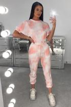 Pink Sporty Tie Dye Short Sleeve Round Neck Drawstring Waist Tee Top Harem/Genie Pants Sets AMM8240
