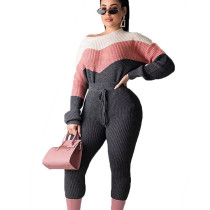 Pink Colors Patchwork Top Solid Pencil Pants Sweater Ladies Sets MA6295