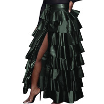 Army Green Trendy Women High Slit Pu Leather Layered Ruffled Party Maxi Skirt F8254