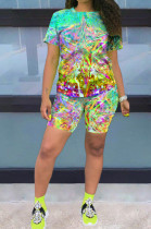 Fluorescent Yellow Multi Casual Polyester Tie Dye Short Sleeve Round Neck Tee Top Shorts Sets OX8059