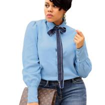 Office Ladies Fashion Autumn Long Sleeved Denim Tied Shirt SMR9497