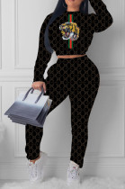 Black Casual Polyester Animal Graphic Long Sleeve Round Neck Tee Top Long Pants Sets HY5093