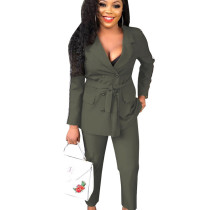 Army Green Double-Breasted Coat Women Pants Slim Business Sets ALS042