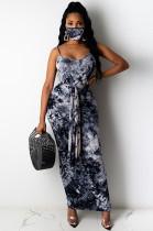 Black Sexy Tie Dye Sleeveless Round Neck Waist Tie Tank Dress YF8517