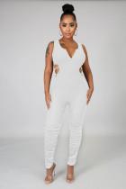 White Sexy Sleeveless V Neck Backless Ruffle Bodycon Jumpsuit LML106