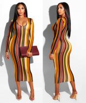 Newest Bodycon Stripe V Neck Long Dress D8216