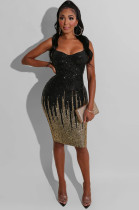 Black Sexy draped neck sequined cami dress with sequined stripes detail