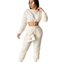 White Trendy Women Autumn Winter Elastic Waist Pants Suits SDD9208