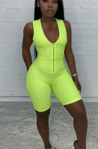 Fluorescent Green Casual Polyester Sleeveless Tank Jumpsuit RB3052