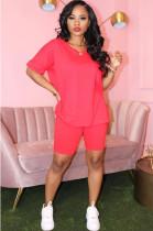 Pink Solid Color V Neck Short Sets