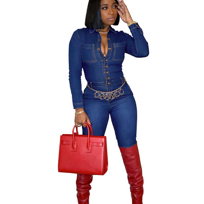 Women Bodycon Denim Button Down Fashion Jumpsuit SMR9531