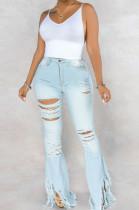 Light Blue Sexy Cotton Tassel Hem High Waist Flare Leg Jeans Pants SMR2280