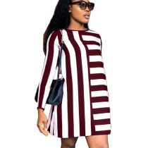 Wine Red Women 2 Colors Leisure Long Sleeved Stripe Dress ORY5136