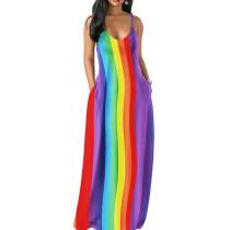 Colorful Striped Print Strapy Maxi Beach Long Dress MA6202