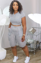 Grey Batwing Sleeve Crop Hoodie & Elatisc Side Pocket Shorts Sets YT3223