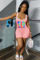 Pink Sexy Polyester Letter Sleeveless Tank Jumpsuit SH7182