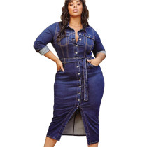 Euramerican Ladies Oversize Single-Breasted Denim Dress SMR9519