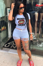 Light Blue Casual Letter Mouth Graphic Short Sleeve Round Neck Ripped Tee Top Shorts Sets ML7330