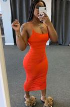 Orange Scoop Neck Bodycon Ruffles Cami Dress HY5139