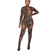 Snake Pattern Explosion Models Club Sets V Collar Dress Slim Leggings KA7064