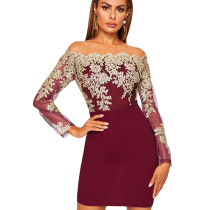 Wine Red Bodycon Long Sleeve Embroidered Lace Patchwork Strapless Dress JLX8922