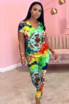 Radiuesd Colorful Graphic V Neck Loungewear NK112