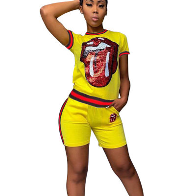Yellow Sequins Print T Shirts Midi Shorts Two Pieces Sets CM566