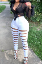 White Casual Polyester Ripped Mid Waist Long Pants LD8739