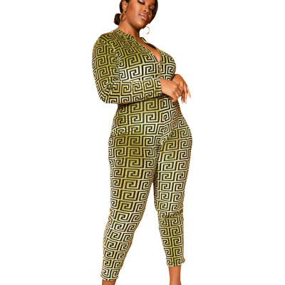 Green Leopard Pattern Round Neck Bodycon Jumpsuit SMR9546