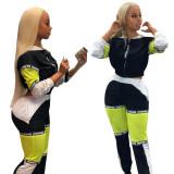 Patchwork Two Pieces Sets Sports Outfits F8183