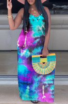Blue Purple Black Casual Polyester Tie Dye Sleeveless Round Neck Mid Waist Tank Dress TZ1099