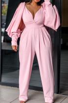 Pink Casual Long Sleeve Halterneck Deep V Neck Jumpsuit BS1109