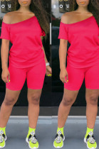 Red Casual Cotton Short Sleeve Tee Top Shorts Sets K8909
