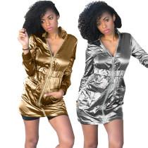 Gold/Silver Zipper Mini Club Dress HHM6068