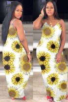 Yellow Casual Polyester Floral Sleeveless Round Neck Slip Dress WA5012
