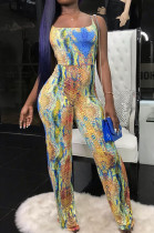 Multi Casual Polyester Sleeveless Hollow Out Knotted Strap Cami Jumpsuit OX8040