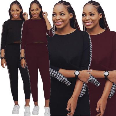 Leisure Plaid Patchwork Women Bodycon Suits T3306H