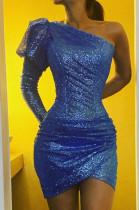 Blue Sexy Polyester Long Sleeve Mid Waist Mini Dress CCY8598
