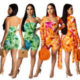 Green Leaves Random Print Tube Dress TRS1009