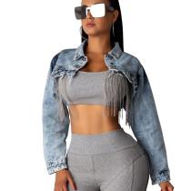 Women's Clothing Long sleeve Denim Fringed Cape Coat SMR9502